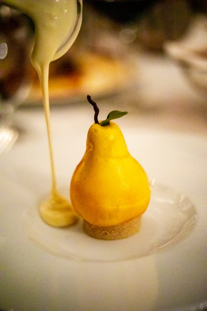 The Inn at Little Washington |Washington VA by popular D.C. travel blogger, Alicia Tenise: image of a pear dessert.