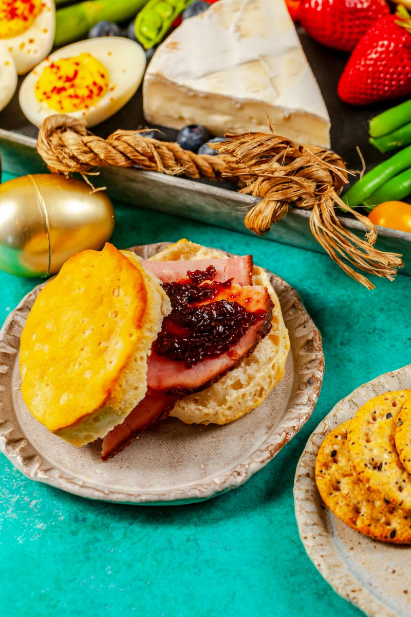 Easter charcuterie board ideas featured by top US lifestyle blogger, Alicia Tenise: Ham Biscuits for Easter
