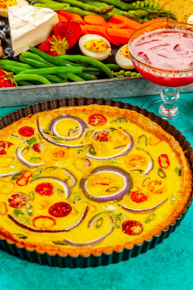 Easter charcuterie board ideas featured by top US lifestyle blogger, Alicia Tenise: Spring Veggie Quiche