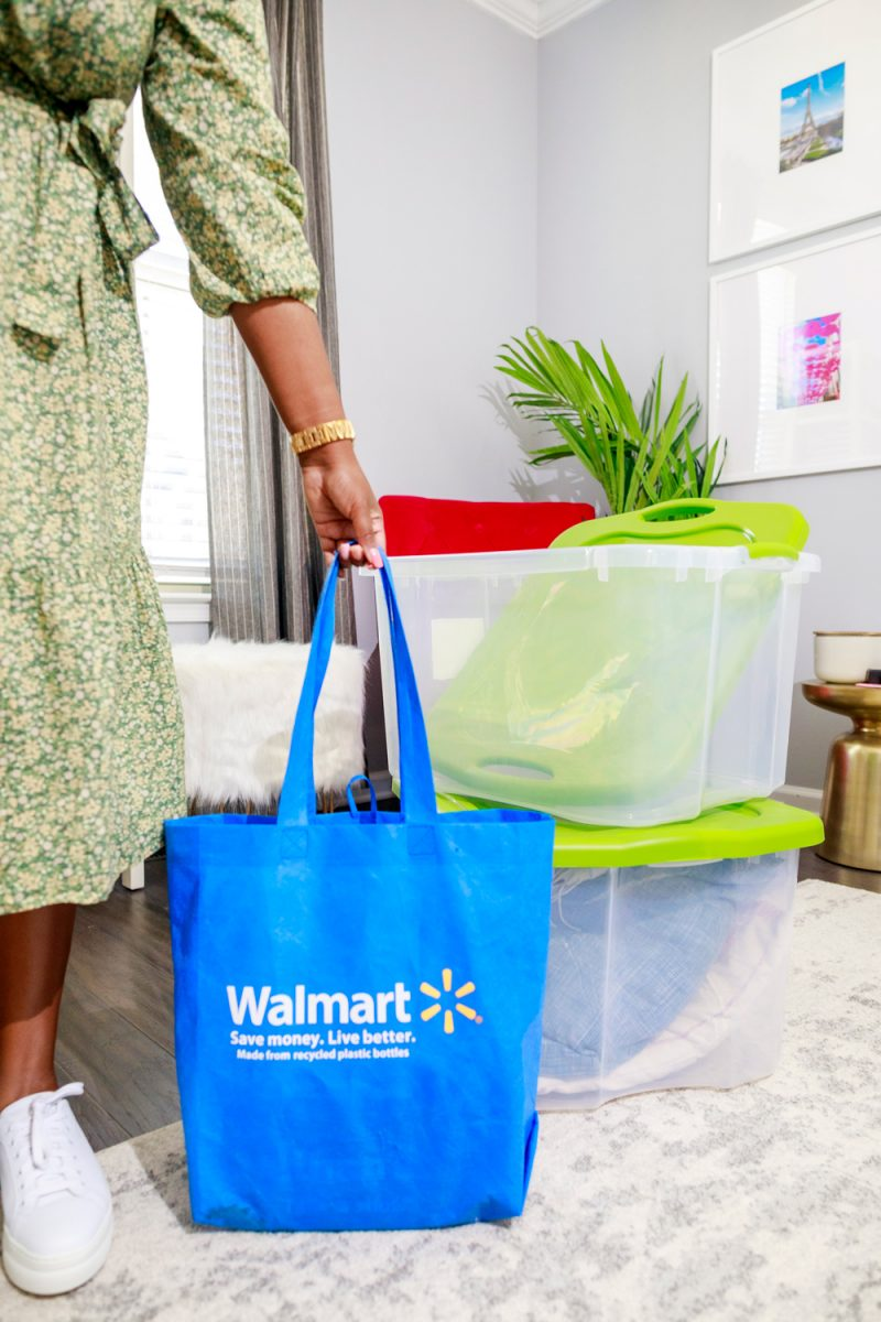 Spring Cleaning Tips and Tricks by popular D.C. life and style blogger, Alicia Tenise: image of Alicia Tenise holding a reusable Walmart shopping bag.