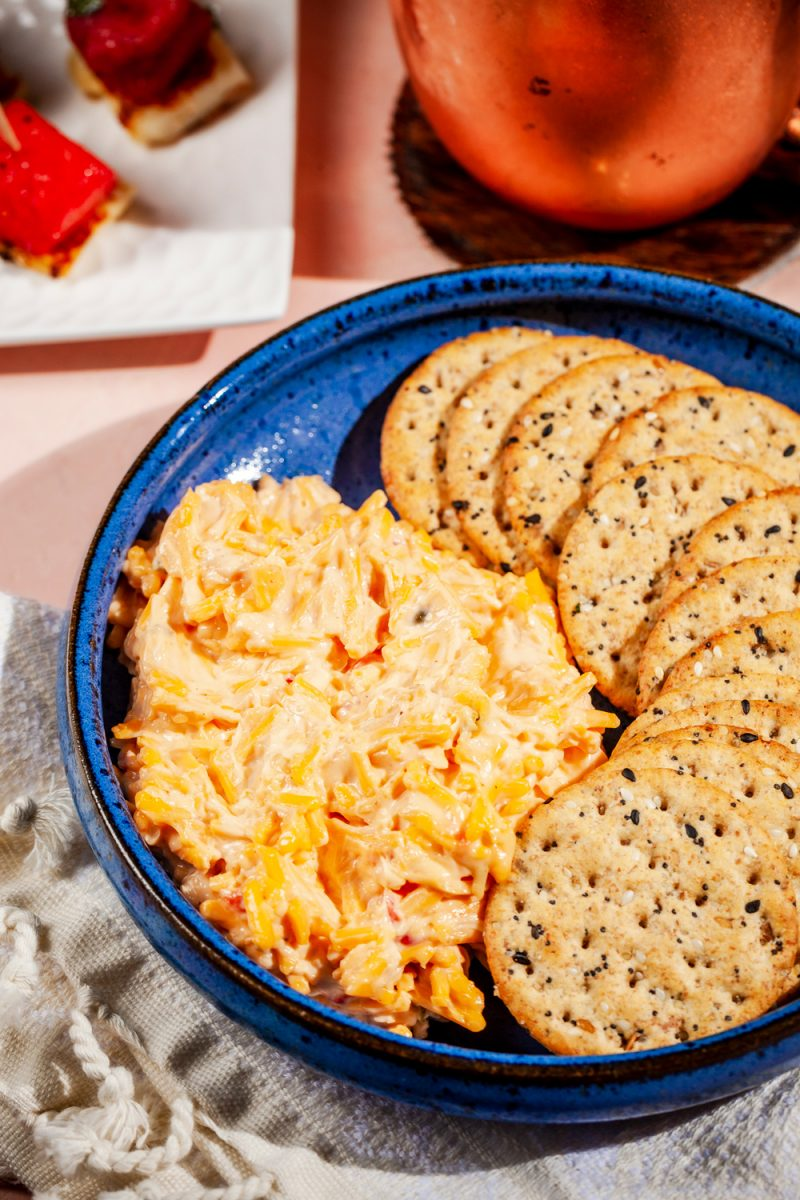 Kentucky Derby Party essentials featured by top US lifestyle blogger, Alicia Tenise - Pimento Cheese |Kentucky Derby Party by popular D.C. lifestyle blogger, Alicia Tenise: image of crackers and pimento cheese.