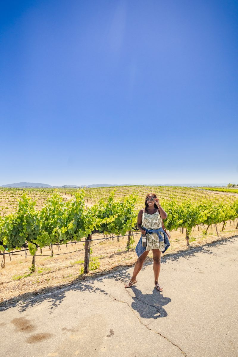 3 Wineries to Visit in the Northern San Diego Area for the Red Wine Lover featured by top LA travel blogger, Alicia Tenise: Palumbo Family Vineyard | San Diego Wineries by popular LA lifestyle blogger, Alicia Tenise: image of Alicia Tenise holding a bottle of red wine while standing next to some grape vines.
