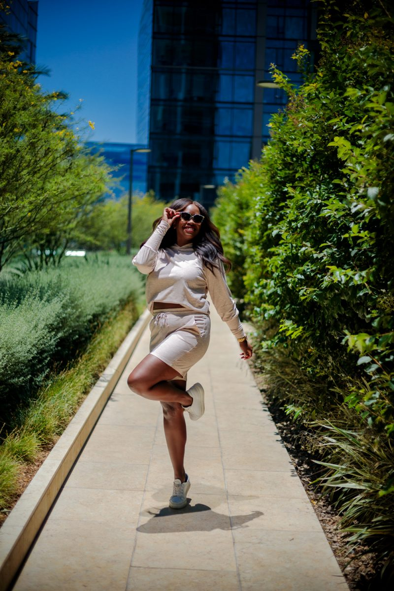 Walmart Scoop Women's Hoodie and Shorts Set | Summer Essentials From Walmart by popular LA fashion blogger, Alicia Tenise: image of a woman standing outside and wearing Scoop loungewear set.