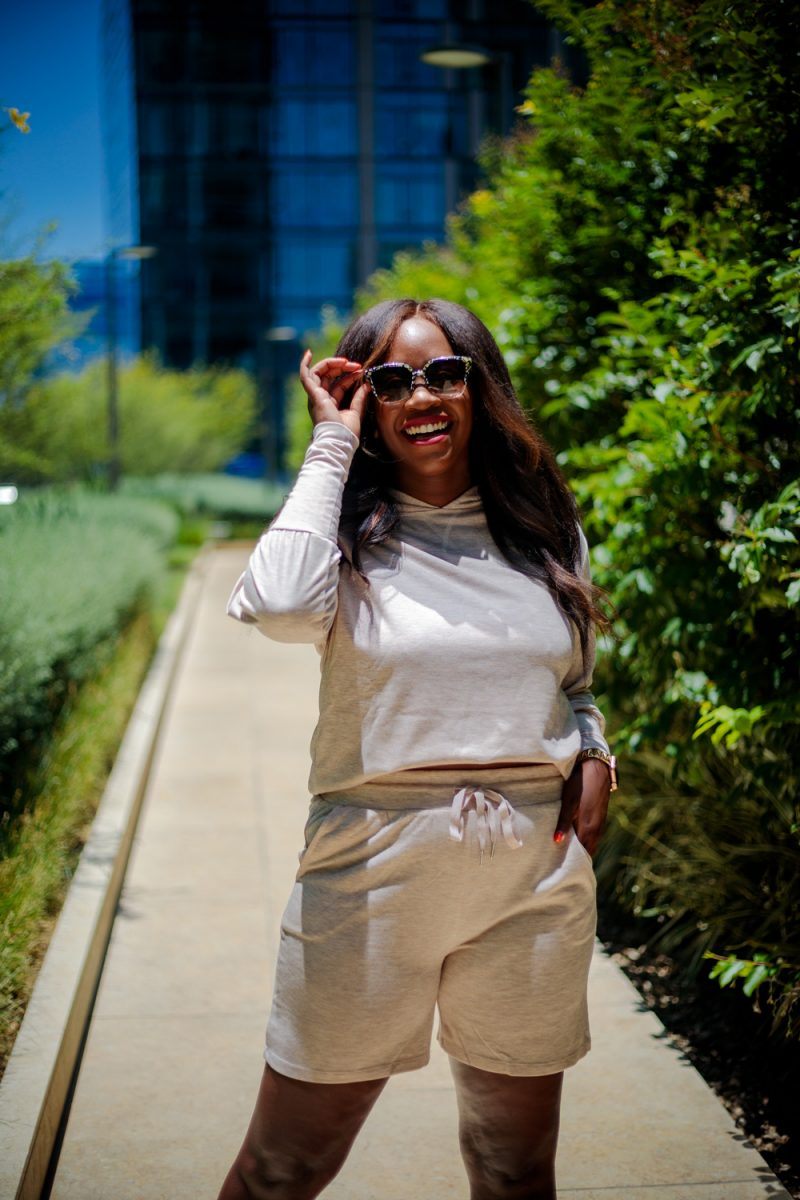 Scoop Women's Hoodie and Shorts Set 2-Piece | Summer Essentials From Walmart by popular LA fashion blogger, Alicia Tenise: image of a woman standing outside and wearing Scoop loungewear set.