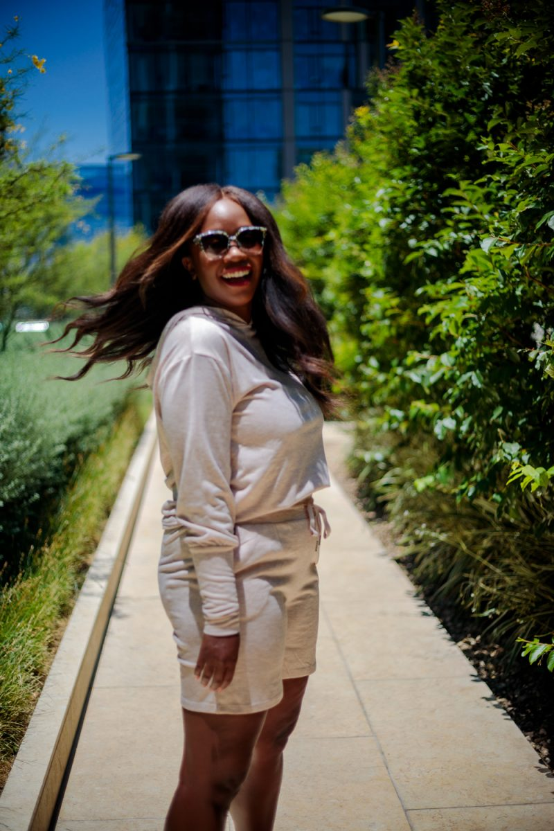 Scoop Women's Hoodie and Shorts Set | Summer Essentials From Walmart by popular LA fashion blogger, Alicia Tenise: image of a woman standing outside and wearing Scoop loungewear set.