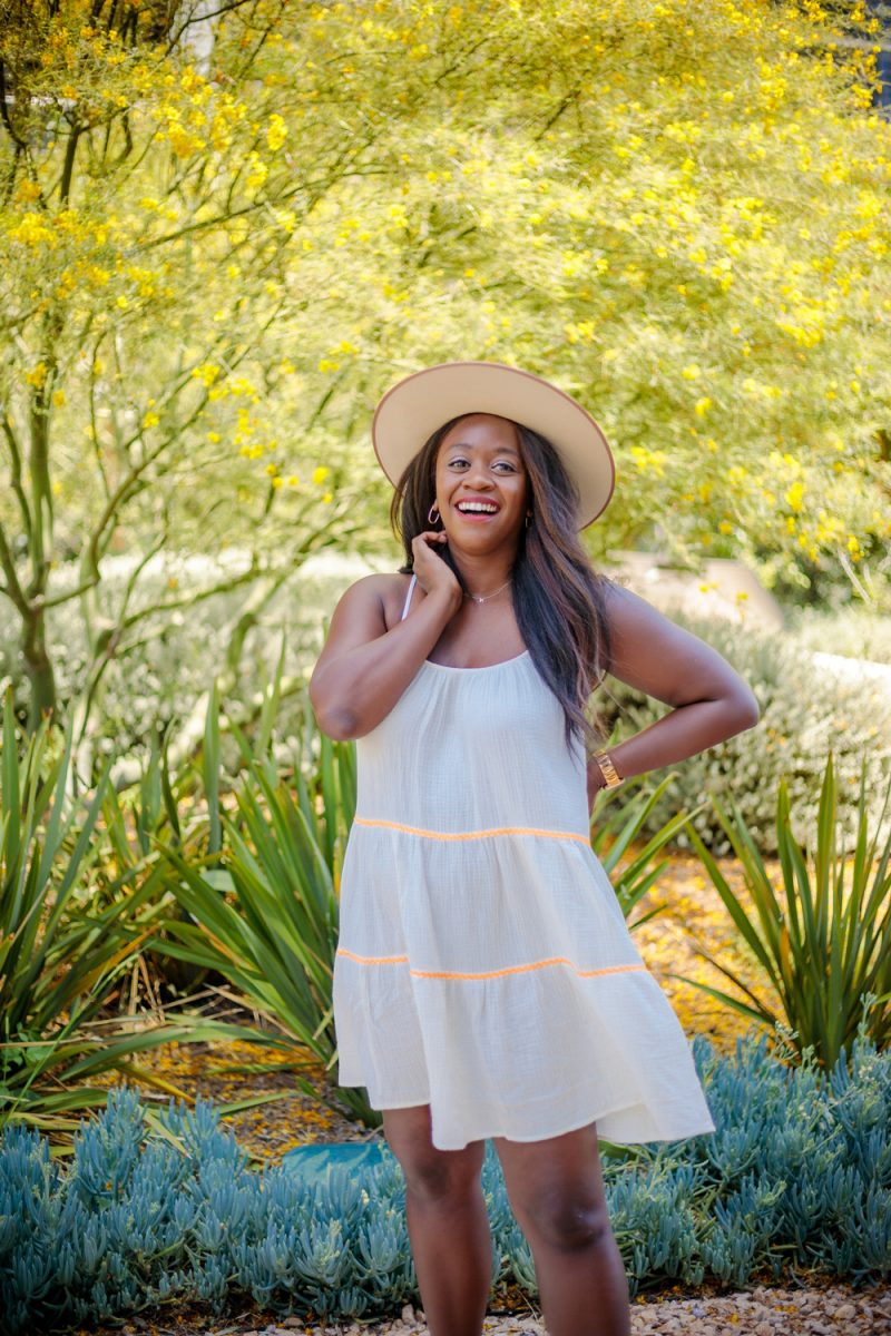Scoop Women's Ric Rac Trim Trapeze Sundress | Summer Essentials From Walmart by popular LA fashion blogger, Alicia Tenise: image of a woman standing outside and wearing a Scoop Ric Rac Trim Trapeze Sundress with a felt fedora hat.