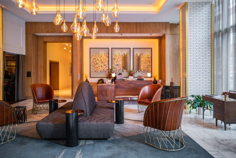 Hotel Distil Louisville KY    Louisville KY Road Trip by popular LA travel blogger, Alicia Tenise: image of the Hotel Distil lobby.