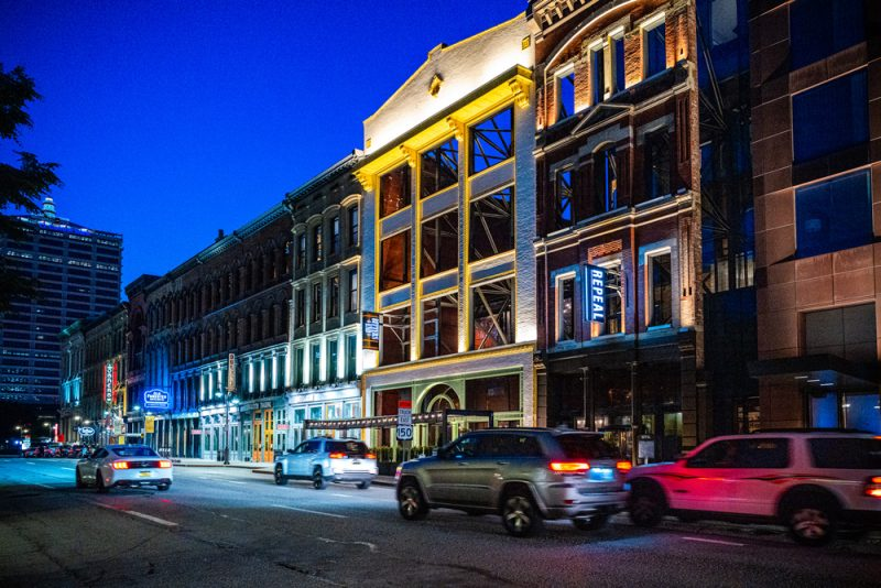 Louisville KY Road Trip by popular LA travel blogger, Alicia Tenise: image of Whiskey Row.