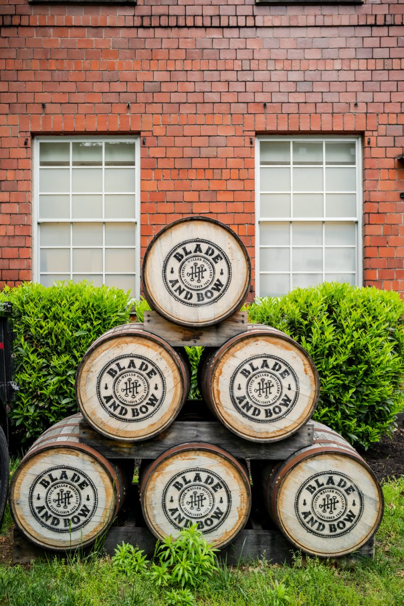 Blade and Bow, Stitzel Weller Distillery    Louisville KY Road Trip by popular LA travel blogger, Alicia Tenise: image of Bald and Bow barrels.