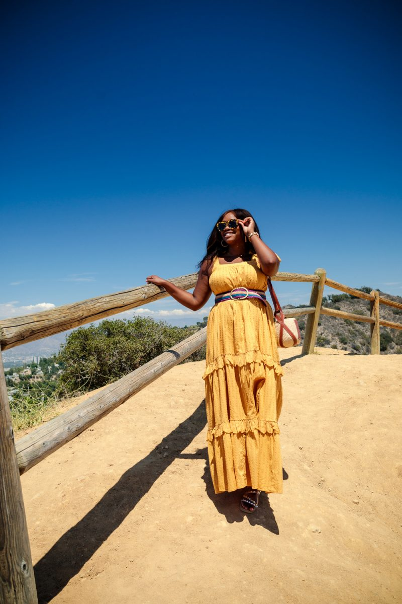 Sezane Albana Dress, Mullholland Scenic Overlook at Coldwater Canyon Park