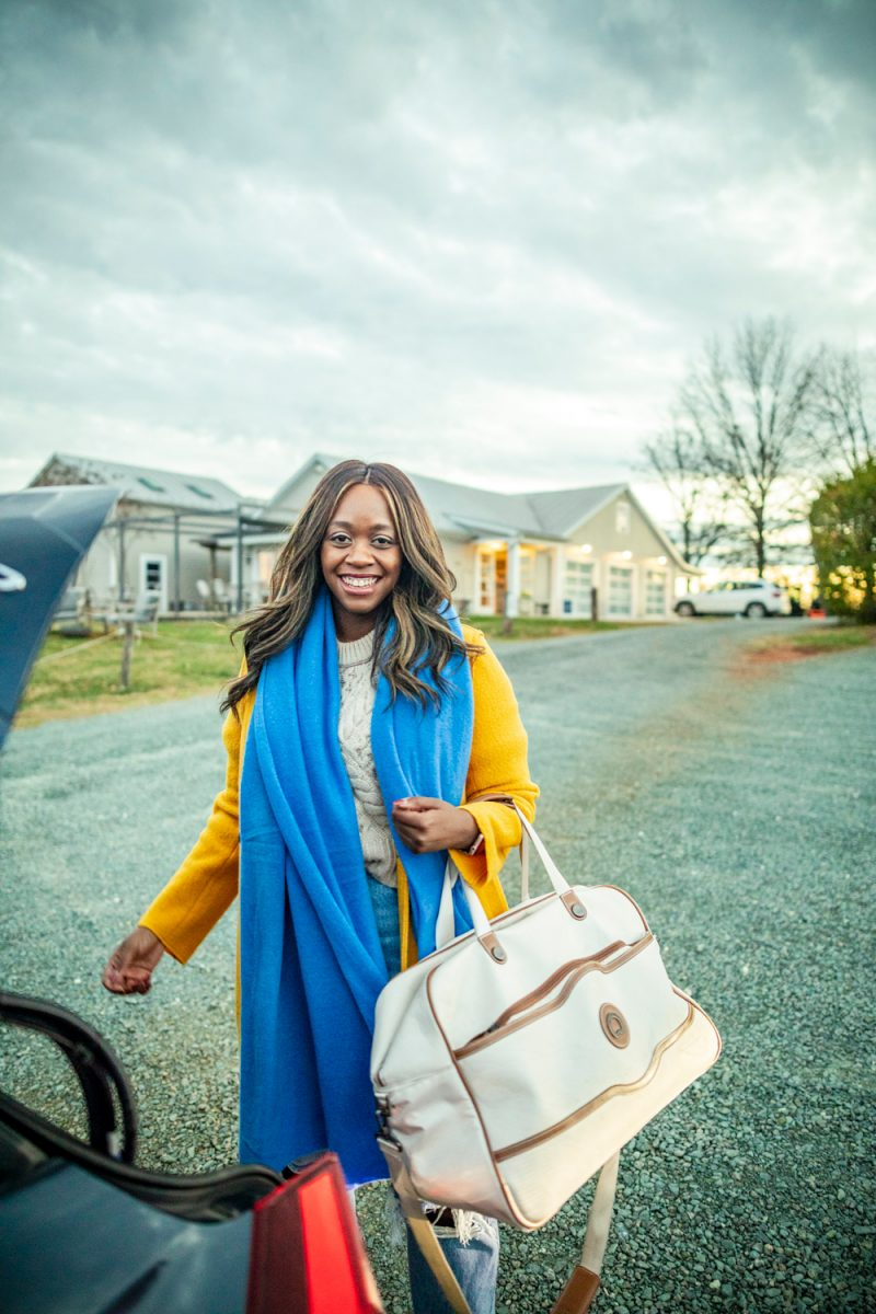 Fall Travel Essentials featured by top US travel blogger, Alicia Tenise: White and Warren Travel Wrap, Delsey Delsey Chatelet Plus Duffel Bag